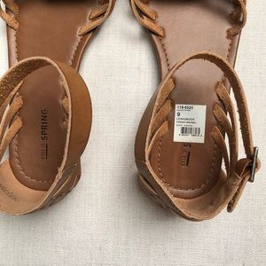 Call It Spring Shoes - Cognac Leather Sandal Tan Brown Ankle Strap